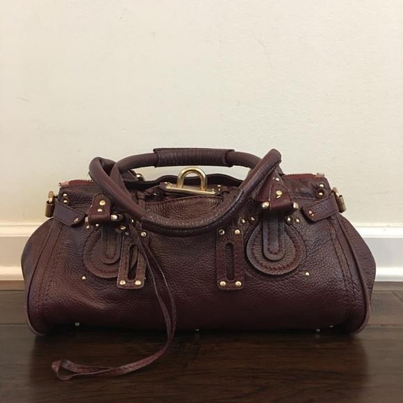 f75f6582 Authentic Chloe Paddington Red Wine Leather Bag
